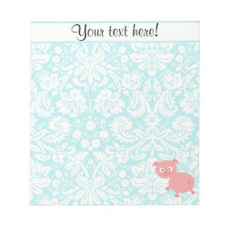Cute Pink Pig; Teal Damask Note Pad