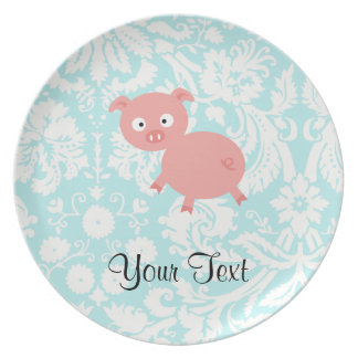Cute Pink Pig; Teal Damask Party Plate