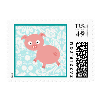 Cute Pink Pig; Teal Damask Postage Stamps