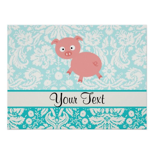 Cute Pink Pig; Teal Damask Print
