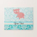 Cute Pink Pig; Teal Damask Puzzle