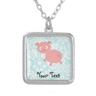 Cute Pink Pig; Teal Damask Silver Plated Necklace