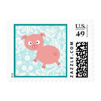 Cute Pink Pig; Teal Damask Stamp