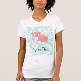 Cute Pink Pig; Teal Damask T Shirt