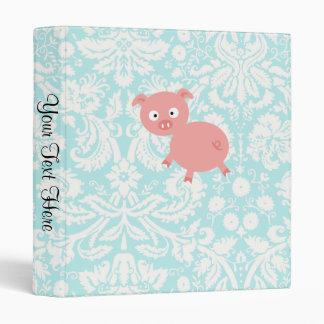 Cute Pink Pig; Teal Damask Vinyl Binder