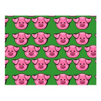 Cute Pink Piggies Post Cards