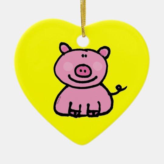 Cute pink piggy ceramic ornament