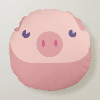 Cute Pink Piggy With A Tail On The Back Round Pillow