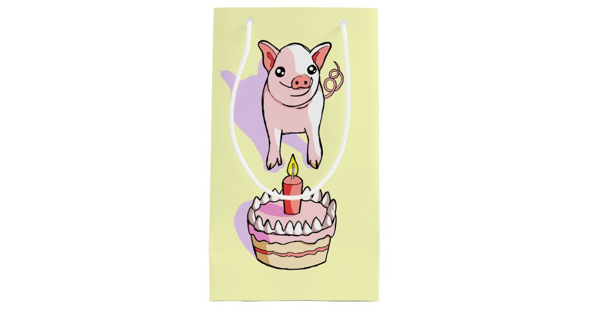 Terrific Cute Pink Piglet Birthday Cake Drawing Gift Bag Zazzle Com Birthday Cards Printable Benkemecafe Filternl