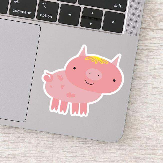 Cute Pink Piglet Cartoon - Contour