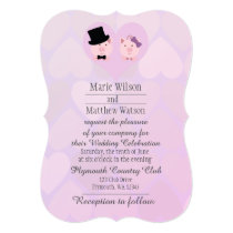 Cute Pink Pigs in Love Wedding Invitation
