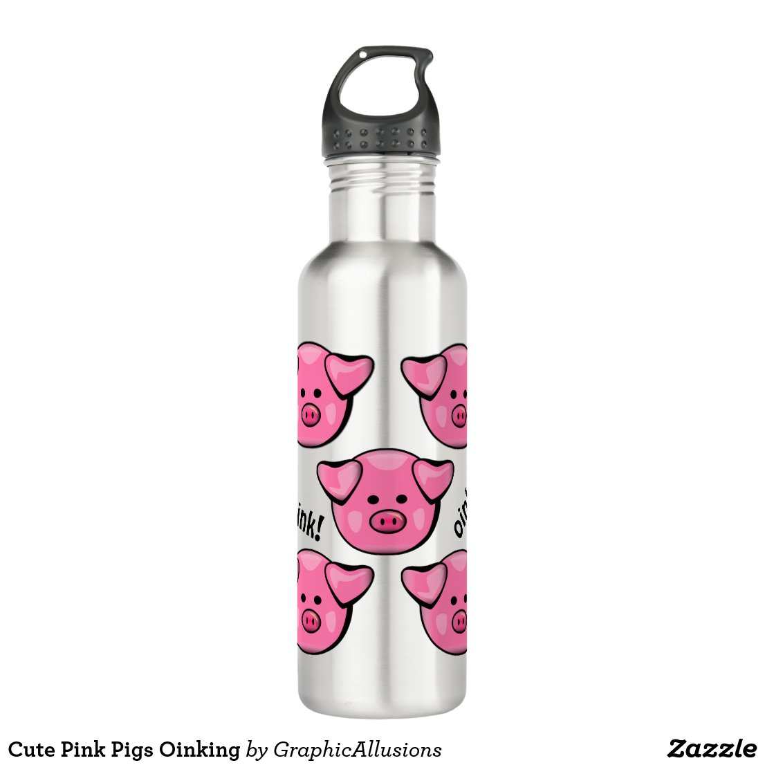Cute Pink Pigs Oinking Stainless Steel Water Bottle