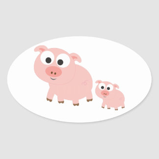Cute Pink Pigs Oval Sticker