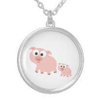 Cute Pink Pigs Silver Plated Necklace