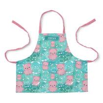Cute Pink Pigs Teal Watercolor Pattern Name Apron