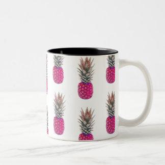 Cute Pink Pineapple Pattern Two-Tone Coffee Mug