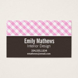 Cute Pink Plaid; Checkered Business Card