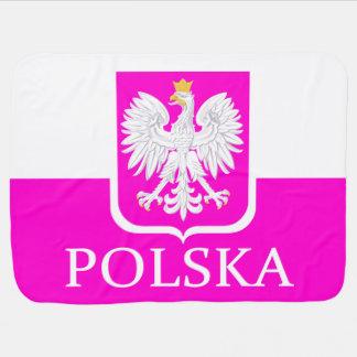 Cute Pink Poland Polska Flag Coat of Arms Receiving Blanket