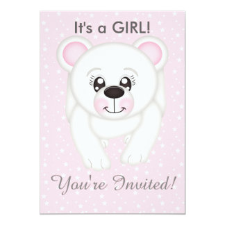 Cute Pink Polar Bear Baby Shower Invitations