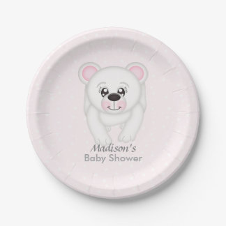 Cute Pink Polar Bear Baby Shower Plates 7 Inch Paper Plate