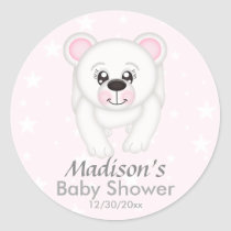 Cute Pink Polar Bear Baby Shower Stickers