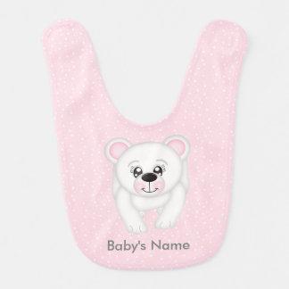 Cute Pink Polar Bear Personalized Bib