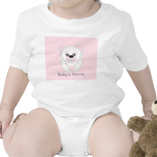 Cute Pink Polar Bear Personalized Infant Creeper