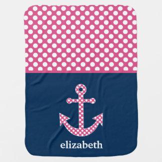 Cute Pink Polka Dot Anchor with Navy Custom Name Baby Blanket