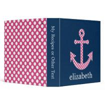 Cute Pink Polka Dot Anchor with Navy Custom Name Binder