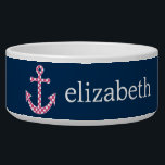 """Cute Pink Polka Dot Anchor with Navy Custom Name Bowl<br><div class=""""desc"""">A trendy and elegant design with dots and preppy colors plus an area to add your name or monogram.</div>"""