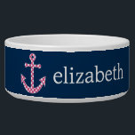 "Cute Pink Polka Dot Anchor with Navy Custom Name Bowl<br><div class=""desc"">A trendy and elegant design with dots and preppy colors plus an area to add your name or monogram.</div>"