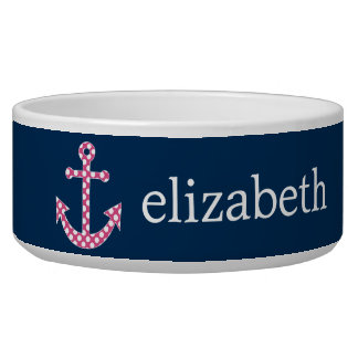 Cute Pink Polka Dot Anchor with Navy Custom Name Bowl