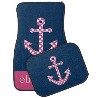 Cute Pink Polka Dot Anchor with Navy Custom Name Car Floor Mat
