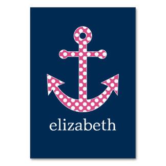 Cute Pink Polka Dot Anchor with Navy Custom Name Card