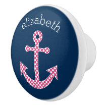 Cute Pink Polka Dot Anchor with Navy Custom Name Ceramic Knob