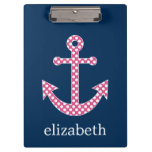 Cute Pink Polka Dot Anchor with Navy Custom Name Clipboard