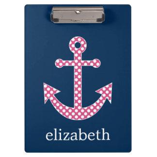 Cute Pink Polka Dot Anchor with Navy Custom Name Clipboard