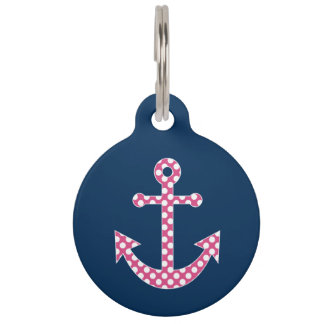 Cute Pink Polka Dot Anchor with Navy Custom Name Pet ID Tags