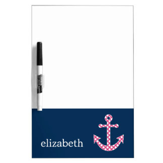 Cute Pink Polka Dot Anchor with Navy Custom Name Dry Erase Board