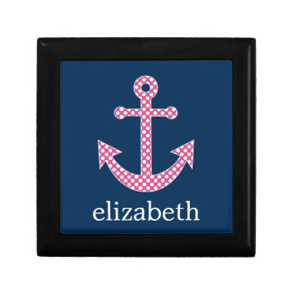 Cute Pink Polka Dot Anchor with Navy Custom Name Jewelry Box