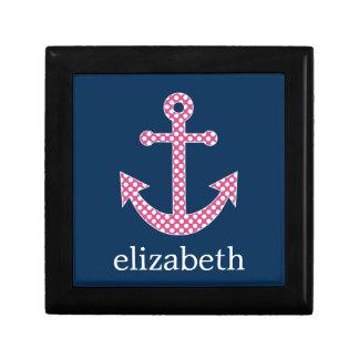 Cute Pink Polka Dot Anchor with Navy Custom Name Keepsake Box