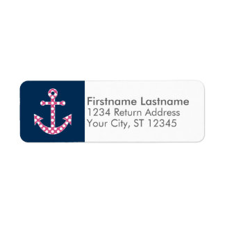 Cute Pink Polka Dot Anchor with Navy Custom Name Label