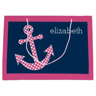 Cute Pink Polka Dot Anchor with Navy Custom Name Large Gift Bag