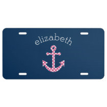 Cute Pink Polka Dot Anchor with Navy Custom Name License Plate