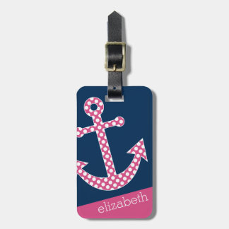 Cute Pink Polka Dot Anchor with Navy Custom Name Luggage Tag