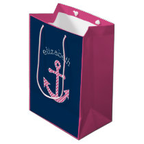 Cute Pink Polka Dot Anchor with Navy Custom Name Medium Gift Bag