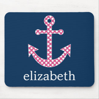 Cute Pink Polka Dot Anchor with Navy Custom Name Mousepads