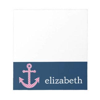 Cute Pink Polka Dot Anchor with Navy Custom Name Notepad