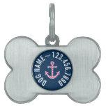 Cute Pink Polka Dot Anchor with Navy Custom Name Pet Name Tags