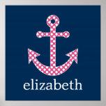 Cute Pink Polka Dot Anchor with Navy Custom Name Poster